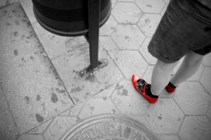 woman wearing ruby slippers