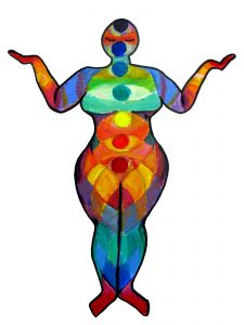 Drawing of a full bodied women in many colors