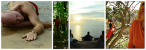 People meditating, walking, moving, dancing in nature