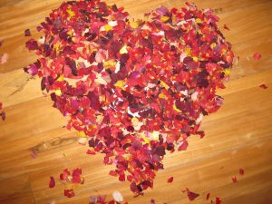 Rose petals in the shape of a heart