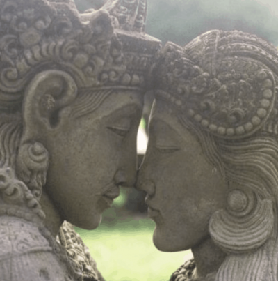 God meets Goddess stone statues