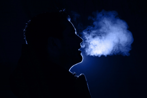 silhouette of man's breath